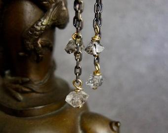 Quartz Earrings,Herkimer Diamond Earrings,Herkimer Jewelry,Herkimer Dangle Earrings,April Birthstone,Herkimer Earrings,Raw Stone Earrings
