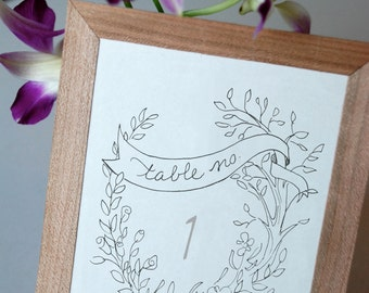 Garden Party Printable Wedding Table Numbers 1 to 12 - Instant download