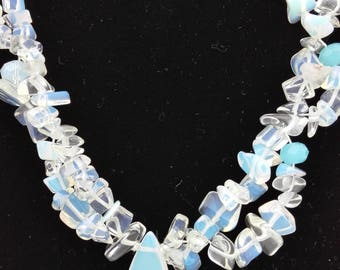 Opalite, Quartz and Glass Beads, Statement Necklace