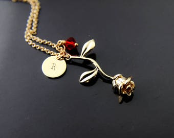 Rose Necklace, Gold Rose Charm Necklace, Mother's Day Gift, Gardener Gift, Gardening Gift, Gift for Girlfriends, Valentines Day Gift, N110