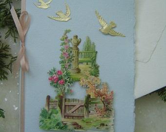 OOAK Keepsake 3-D Handmade Paper Victorian Mother's Day Birthday Get-Well Rare Antique Scrap Dresden Greeting Card