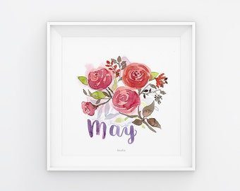 Mai lettering with watercolor flowers, download, print template, printable, 21 x 21 cm, calendar, square, painting, seasonal