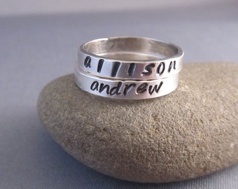 Personalized Rings,set of Two, Stamped Silver Rings, Stacking Bands, Set of Two