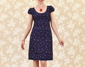 Dress Bio-Cully: organic cotton, dark blue, coloured dots and stars