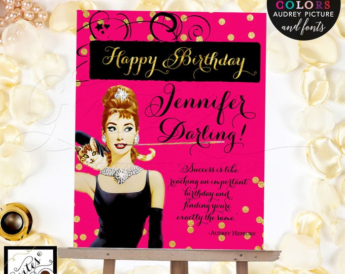 Pink and Gold Happy Birthday Sign, Breakfast Poster, Audrey Hepburn sign, mint green and gold, pink and gold, Digital File Only!