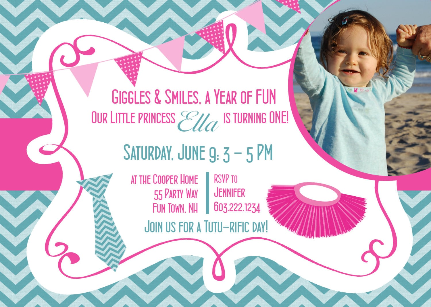 Tutu birthday invitation first birthday tutu party invitation tutu birthday invitation first birthday tutu party invitation 1st birthday tutu and tie invitations girl tutu chevron photo card any age filmwisefo Image collections
