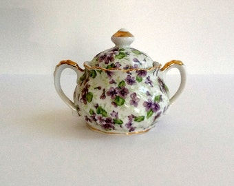 Mid Century Lefton China Violet Chintz Sugar Bowl, Hand Painted, Floral Sugar Bowl, Gold Trim