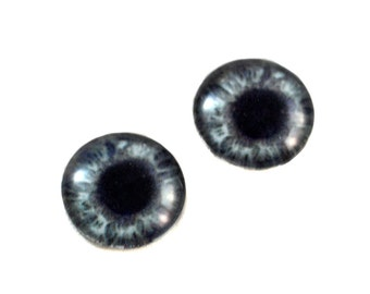 16mm Dark Grey Sparkling Glass Eye Cabochons - Evil Eyes for Art Doll or Jewelry Making - Set of 2