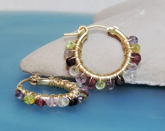 Gift Under 50, 14K Goldfilled, Medium Hoop Earrings, Christmas Gift, Turmelines Earrings, Wire Wrap Earrings, Gemstone Earrings