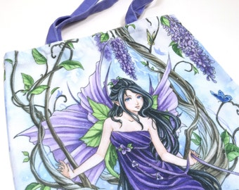 Anime Fairy Tote bag, anime fairy art, fantasy Art bag, Wisteria Flower, Fantasy art, purple, faerie, book bag, art, illustration,