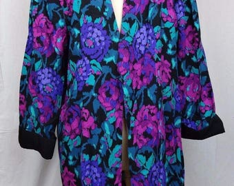 VINTAGE Alexis Open Front Oversize Blazer 80s Shoulder Pad Floral Costume Party 14