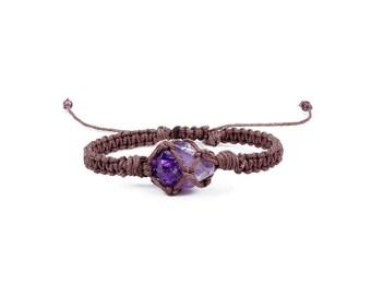 Raw Amethyst Bracelet, Summer Jewelry, Hemp Bracelet, Crystal Bracelet, Macrame Bracelet, Minimalist Bracelet, Yoga Bracelet