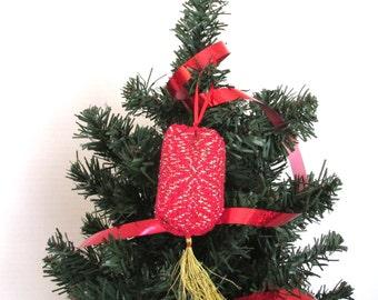 Handwoven stuffed tree ornament