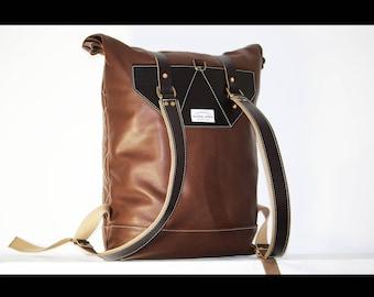 Brown leather Backpack - rucksack - 010056