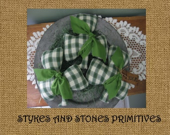 Primitive St. Patrick's Day Shamrock Bowl Fillers/Ornies/Tucks EPattern PDF Downloadable Digital