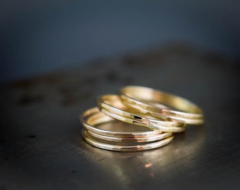 Thin Stacking Rings - 14k Solid Gold Ring Set of 7 - Recycled Gold Jewelry - Delicate Stacking Rings - Hammered Gold Rings