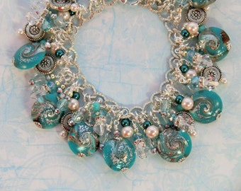 SALE! Turquoise and silver sparkle charm bracelet, aqua round lentil polymer swirl crystal and pearl beaded boho gypsy bracelet, blue teal