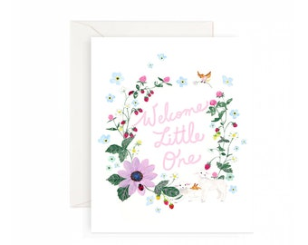 Welcome little one Baby shower greeting card - Pink