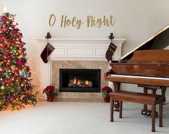 O Holy Night Banner, Christmas Banner xmas Decorations, Winter Mantle Home Decor, christmas santa Festive Party