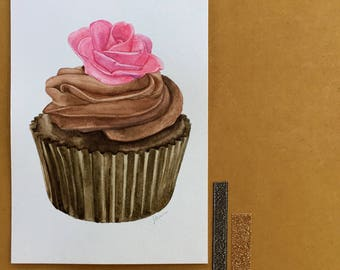 Chocolate Cupcake with Pink Fondant Rose Original Food Illustration Watercolour Illustration