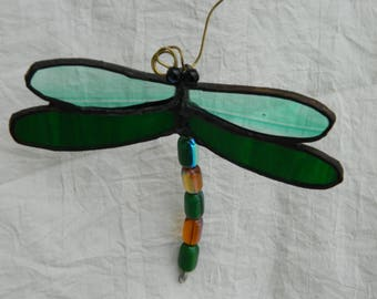 Dragonfly Mobile Suncatcher Stained Glass Green
