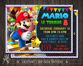 Super Mario Photo Invitation, Super Mario Invitation, Super Mario Birthday Party Invitation, Mario Bros Invitation, Luigi, Yoshi, Mario