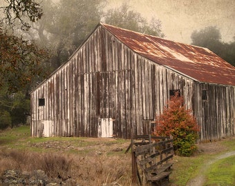 Wine Country Barn Photograph, Fine Art Photography, Weathered Barn Image, Old World Look, 8 x 10 Photo Print, Home Decor, Wall Hanging