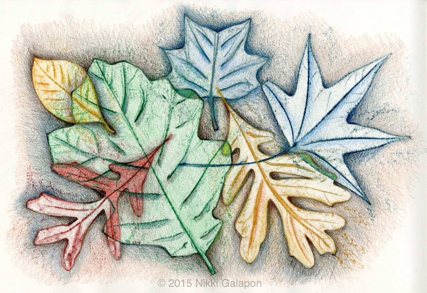 Autumn Leaves: original colored pencil and watercolor drawing