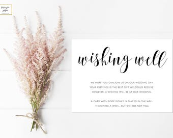 Wishing Well Cards, Wedding Insert Card Templates, Wishing Well Wedding, Wedding Printable Template, Elegant Wishing Well, Wishing Well Card