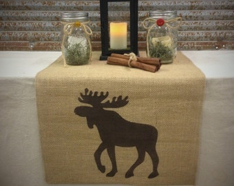 Burlap Table Runner wide with a Moose on each end - Home decor Cabin lodge decorating Hunting