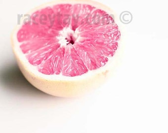 Pink Grapefruit Print, White, Pink, Food Photography, Kitchen Wall Art, Fruit Prints