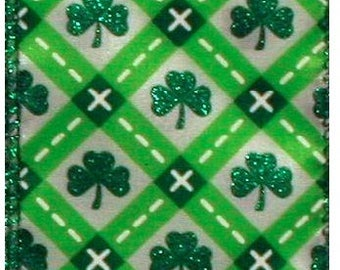 """SALE! 2 1/2"""" St Patrick's Day Green Clover Ribbon - Wire Edge - 10 Yard Roll"""