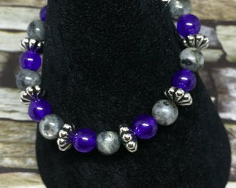Labradorite and Purple Jade Bracelet, Valentines day, Mothers Day Gift, Crystal Healing, Chakra Healing. One of a kind.