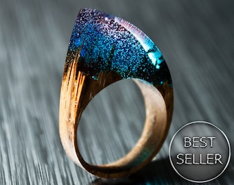 Gift for Woman Resin Rings Gift For Her Wood Ring Statement Ring Wood Jewelry Unique gift  Birthday gift Clothing gift Wooden Ring Boho Ring