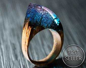 Cadeau pour femme en résine anneaux cadeau pour son bois bague déclaration anneau bois bijoux Unique cadeau d'anniversaire cadeau cadeau de vêtements en bois bague Boho