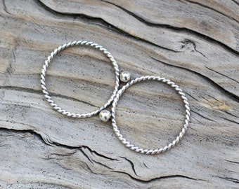 Silver Double Ring, Sterling Silver Double Finger Ring, Silver Twisted Double Ring, Two finger Ring, Multi Finger Ring, Silver Twist Ring