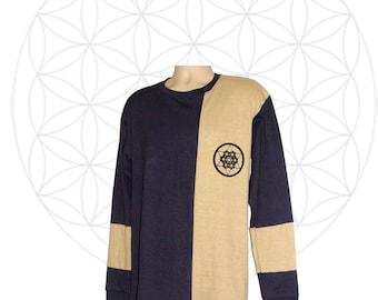 Hemp clothing- Organic Clothing - Handmade Mens Hemp and Organic Cotton Shirt - Sacred Geometry Print - Custom made to order PIIbJRVDu