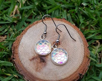 White/light pink based mermaid dragon scale drop earrings. Hypoallergenic stainless surgical steel posts 1.2cm