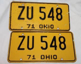 1971 Ohio Car license plates