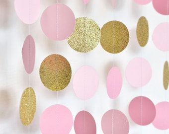 Pink and Gold, 10ft, Paper Garland, Birthday Party Decor, Wedding Decor, Shower Decor, Nursery