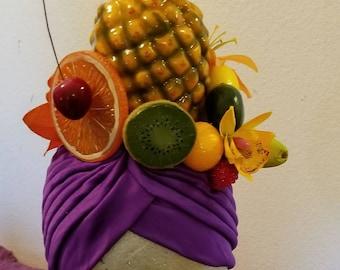 Carmen Miranda, Turban, Fruit, Faux fruit, Fruit turban, Fruit headband, Fruit salad, Halloween