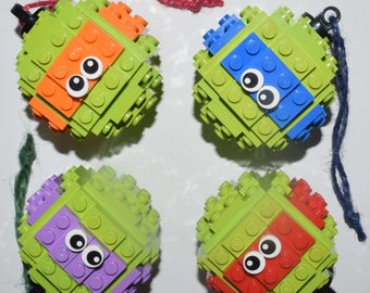LEGO Turtle Baubles - Teenage Mutant Ninja Turtle Baubles made from LEGO - TMNT Baubles