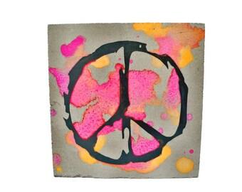 Peace, Peacezeichen, love, concrete image, a little piece of happiness, watercolor painting, watercolor, concrete, concrete, attention,
