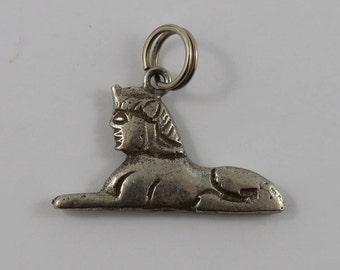Great Sphinx of Giza Sterling Silver Vintage Charm For Bracelet