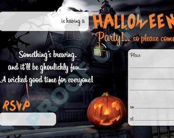 HALLOWEEN PUMPKIN invitations kids party invites