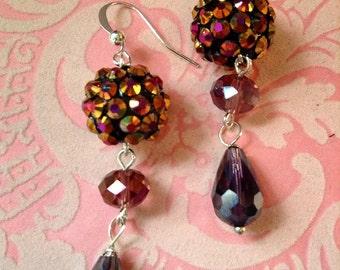SUNSET Mermaid's Song rhinestone and crystal drop earrings