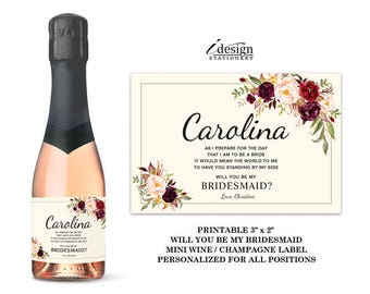 Will You Be My Bridesmaid Mini Wine Or Champagne Bottle Label | Printable Floral Maid Of Honor Proposal Wine Labels | Bridal Party Favors