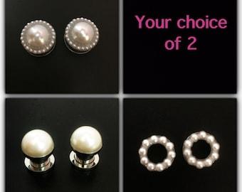 Pearl plugs / 6g, 2g, 0g, 00g, 1/2, 9/16, 5/8, 11/16, & 3/4 / wedding plugs / pearl gauges / plug set