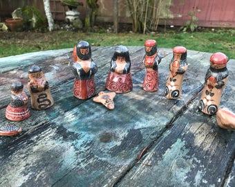 Tonala Nativity Set, Mexican Folk Art, Creche, Hand-Painted Pottery