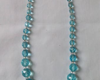 Vintage Aqua Graduated Glass Bead Necklace